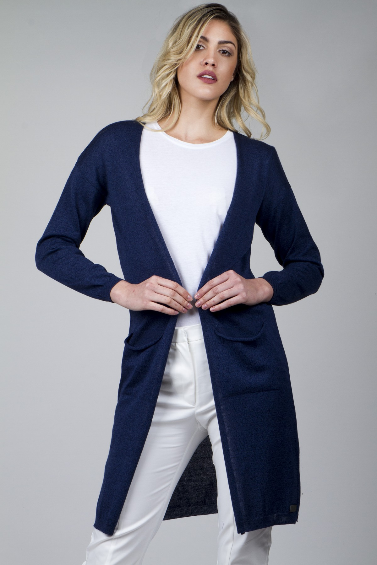 Longline cardigan with side slits - aggel.eu