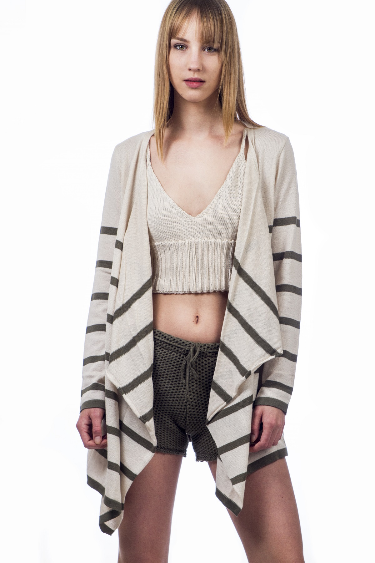 WATERFALL CARDIGAN WITH STRIPES - aggel.eu