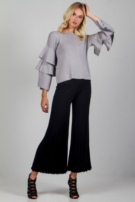 Lurex blouse with ruffle sleeves silver