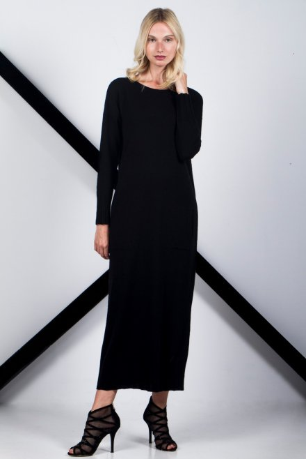 Cashmere  loose dress with pockets black
