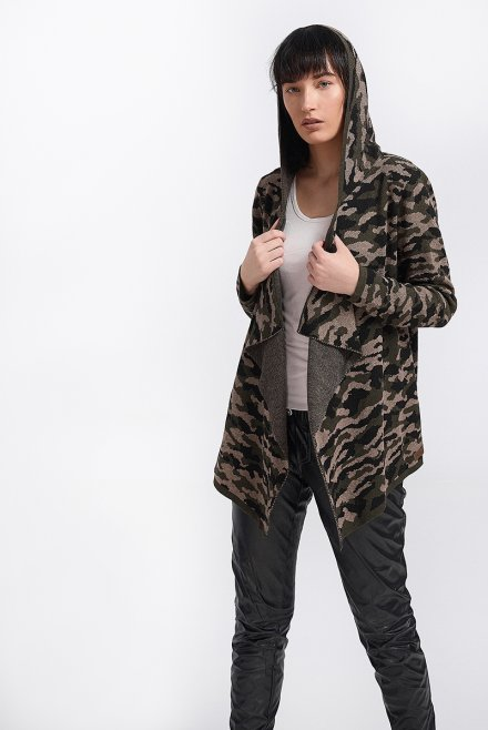 Army cardigan with hood khaki