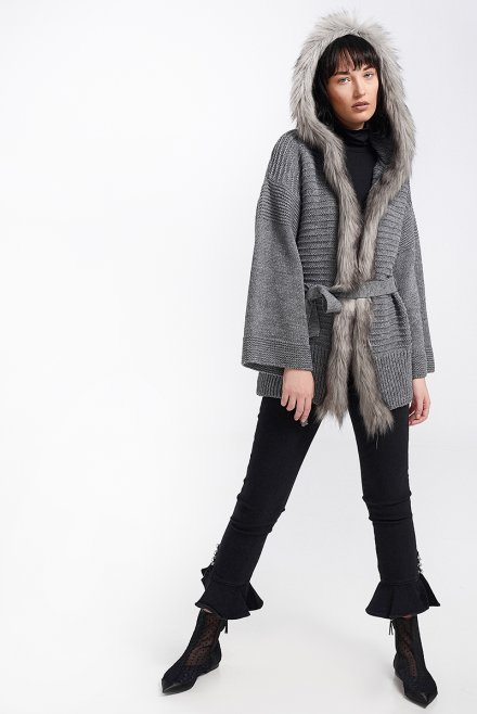Cardigan with fur & a belt dark grey