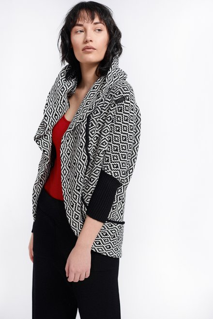 Cardigan with hood & pattern black-ivory