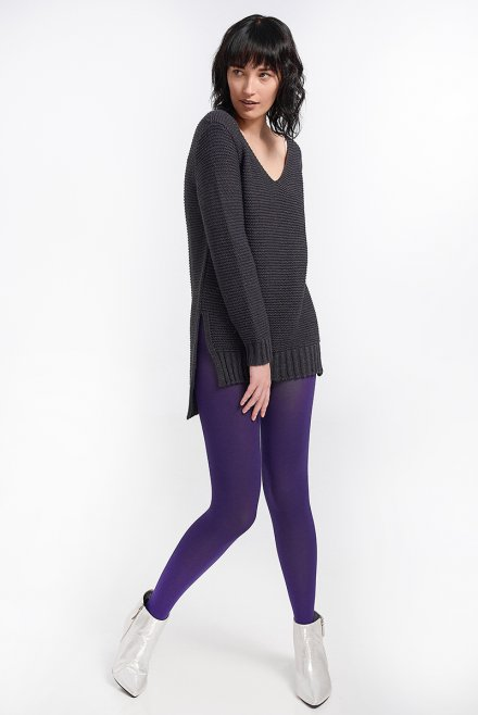 Ve neck blouse with links and lurex dark purple