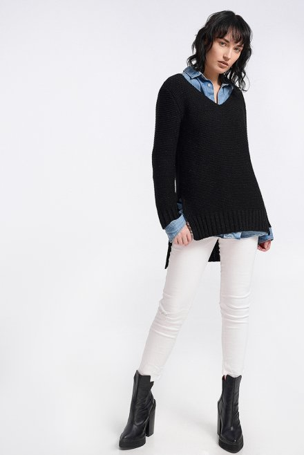 Ve neck blouse with links and lurex black