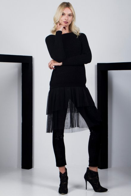 Blouse with tulle black