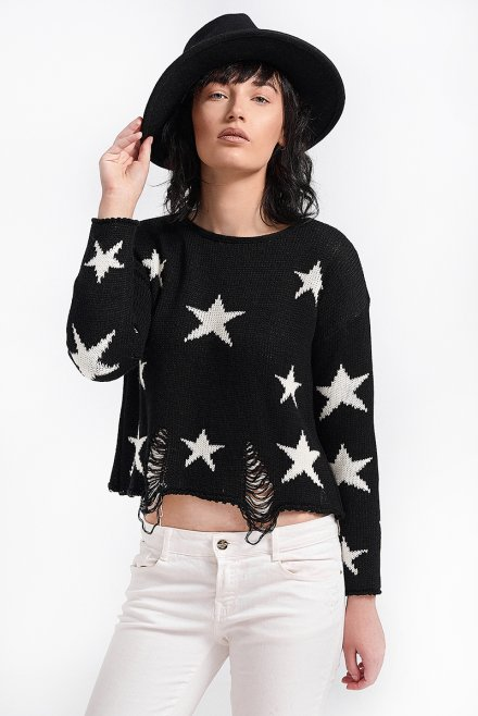 Crop top with stars & rips ivory-black