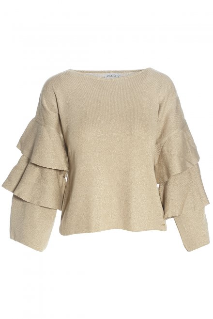 Lurex blouse with ruffle sleeves gold