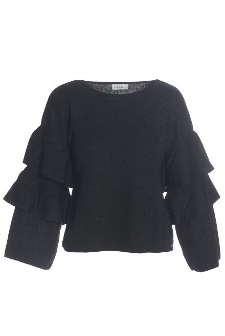 Lurex blouse with ruffle sleeves black