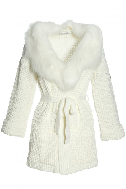 Cardigan with fur collar and a belt ivory