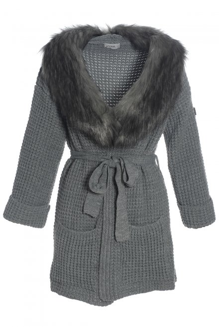 Cardigan with fur collar and a belt medium grey