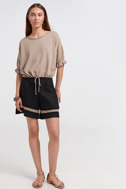 Lurex blouse with ruffles on the sleeves