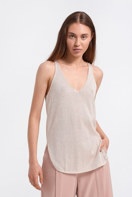 Lurex V-neck  and V in the back knitted top