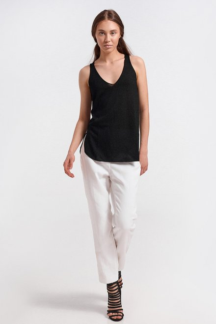 Lurex V-neck knitted top