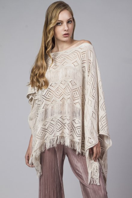 Lace poncho with front binding beige