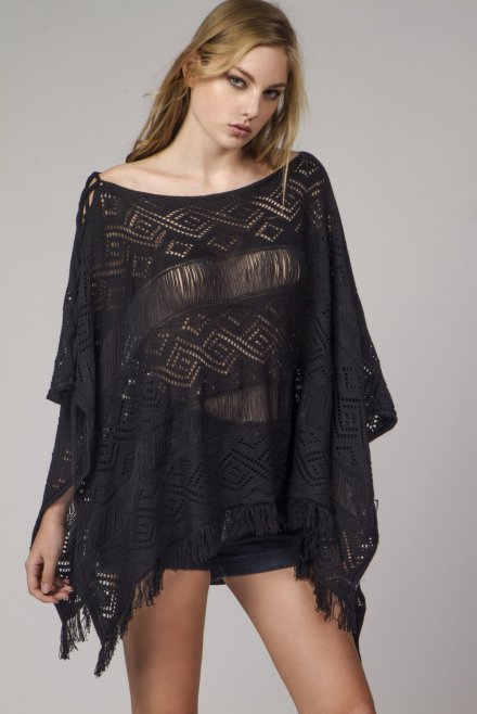Lace poncho with front binding black