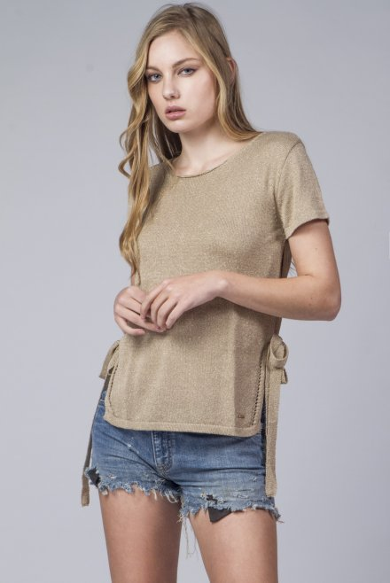 Lurex blouse with side bindings gold