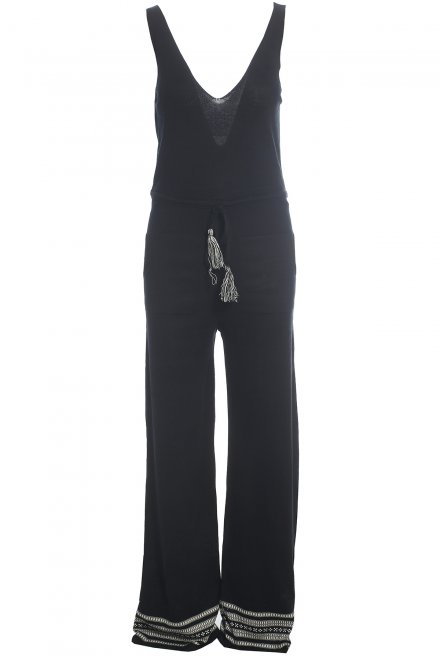 Jumpsuit with jacquard pattern at the bottoms black-beige