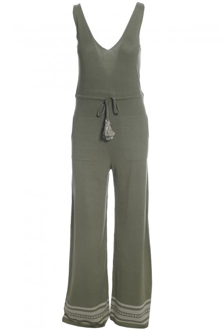 Jumpsuit with jacquard pattern at the bottoms khaki-beton