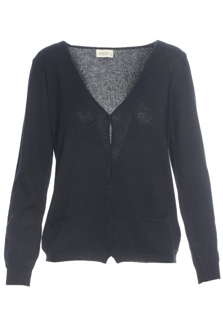 Basic V-neck cardigan with pockets black