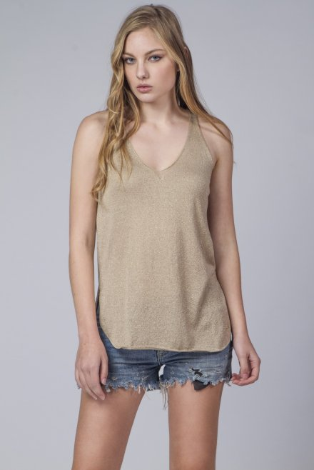 Lurex V-neck knitted top gold