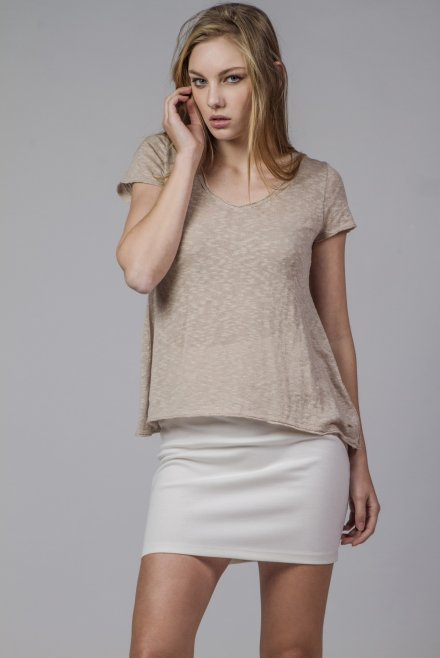 Flama V-neck blouse with short sleeves beige