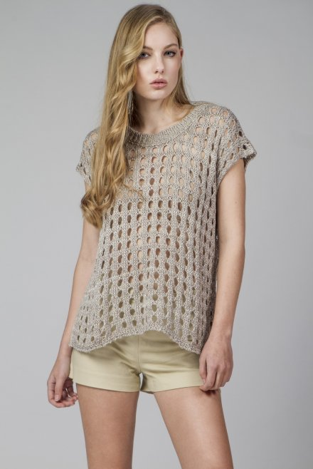 Sleeveless blouse with holes with lurex beige