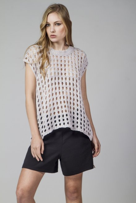 Sleeveless blouse with holes with lurex pink