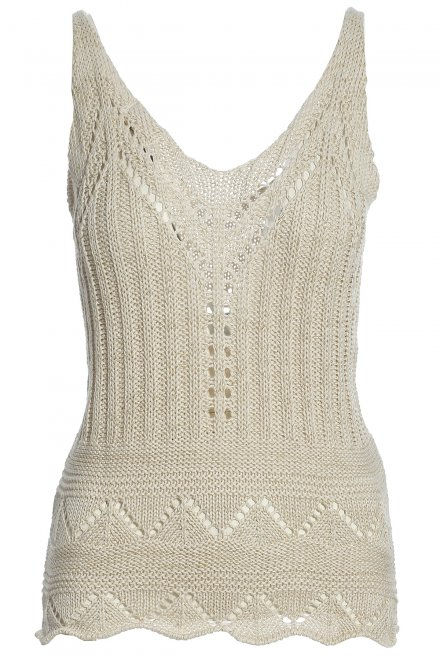 Lace knitted tank top with lurex beige