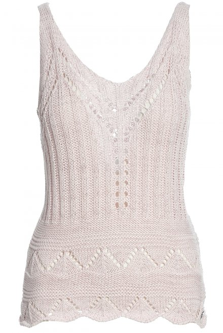 Lace knitted tank top with lurex pink