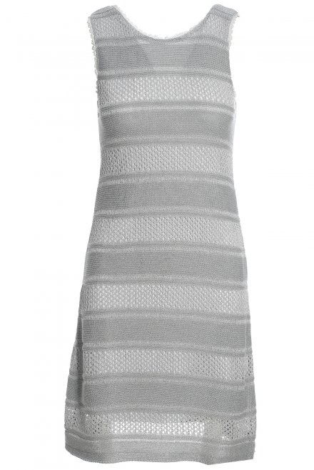 Stripped sleeveless short dress with lurex silver-grey