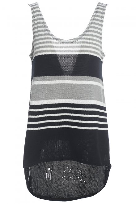 Front side stripped blouse black-white-grey