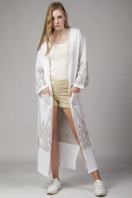 Cardigan with pattern and belt white-beton