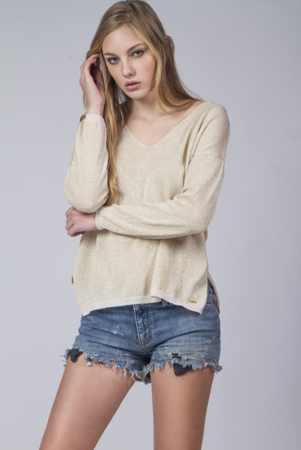 V-neck blouse with lurex beige-cigar
