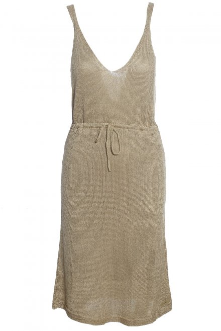 Lurex V-neck dress gold