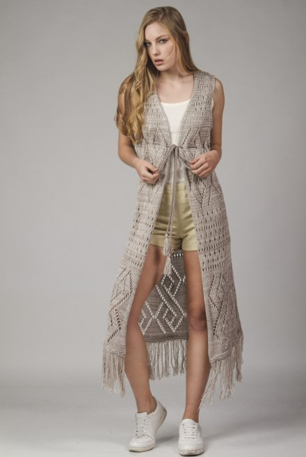 Melange boho cardigan with a  tassel belt beige