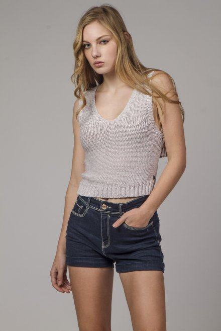 Knitted top with a back binding pink