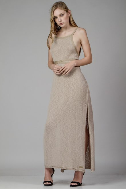 Flama dress with a lurex binding beige