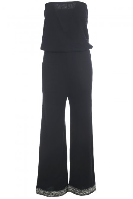 Long strapless jumpsuit with trimming at the bottom black