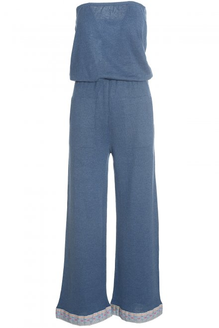 Long strapless jumpsuit with trimming at the bottom denim
