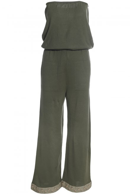Long strapless jumpsuit with trimming at the bottom khaki