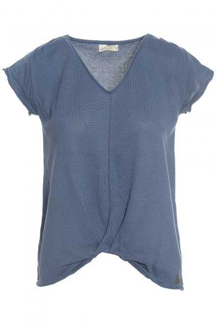 Ve-neck blouse with fold at the bottom denim