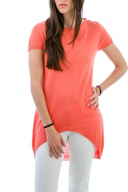 Short-sleeved Blouse in Circle line on the front coral
