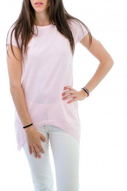 Short-sleeved Blouse in Circle line on the front pink