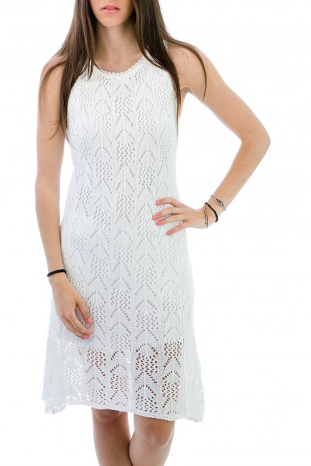 Lacy Midi Dress white