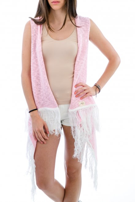 Camisole of slub with fringes pink