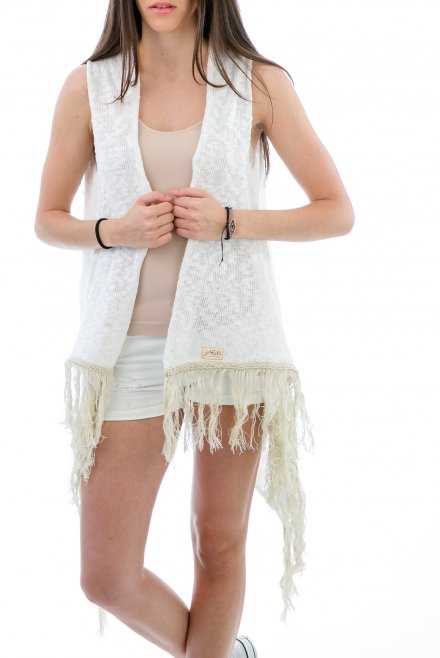 Camisole of slub with fringes white