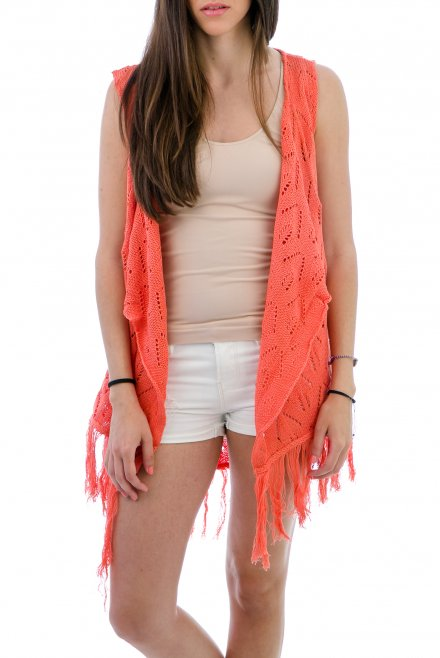 Lacy Camisole with fringes coral
