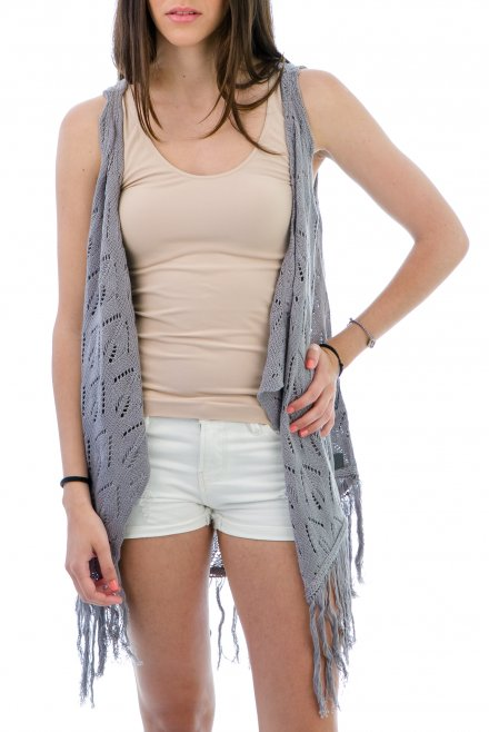 Lacy Camisole with fringes dark grey
