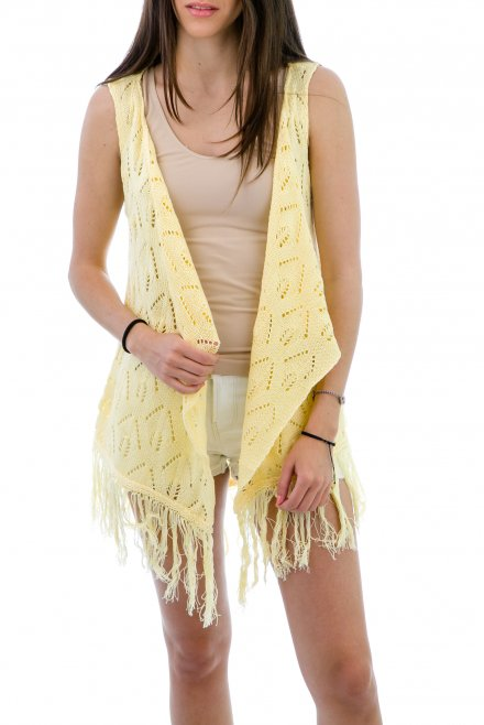 Lacy Camisole with fringes yellow
